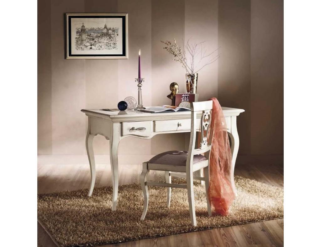 Psací stůl bílý ve vintage stylu