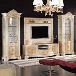 Bílo-zlatá obývací stěna