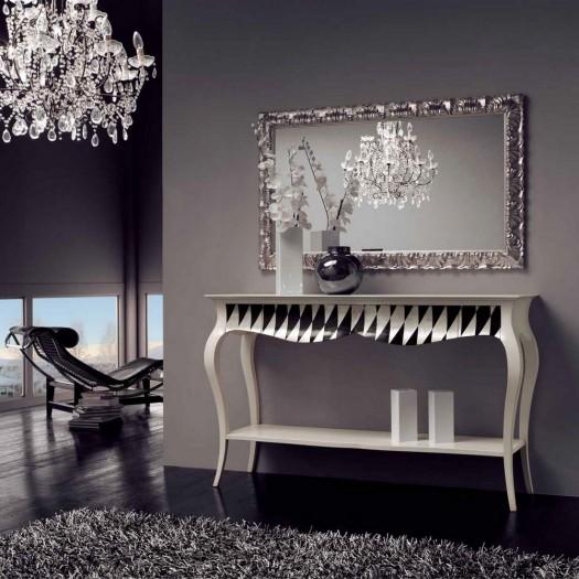Konzolový stolek bílo-černý