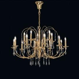 Zlatý lustr s křišťálovými ověsy